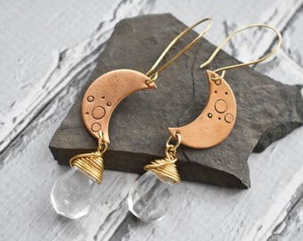 Crescent Moon Celestial Earrings- Gold Moon Stamped Space Jewelry- Facet Quartz Earrings- Wire Wrapped Gem Earrings - Space Moon Jewelry