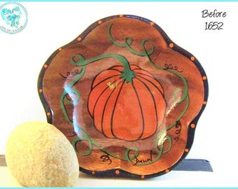 "Fall Pumpkin On A Vine Painted Bowl, *orange and green* #1652 ""Before"""