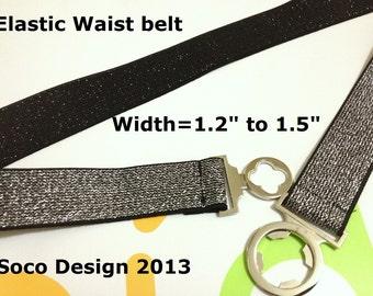 Black Silver Waist belt,  Elastic Belt, Elastic waist belt