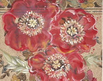Gayety - original mixed media painting, Red Poppy Flowers painted on original antique 1927s wallpaper sample