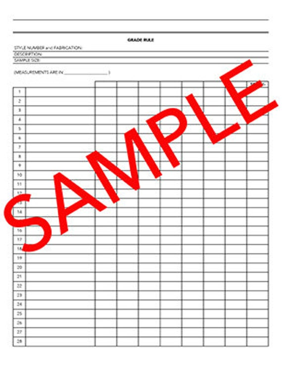 Tech Pack Grade Rule Sheet Template - Tech pack template