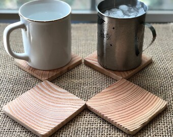 Rustic End Grain Wooden Coasters