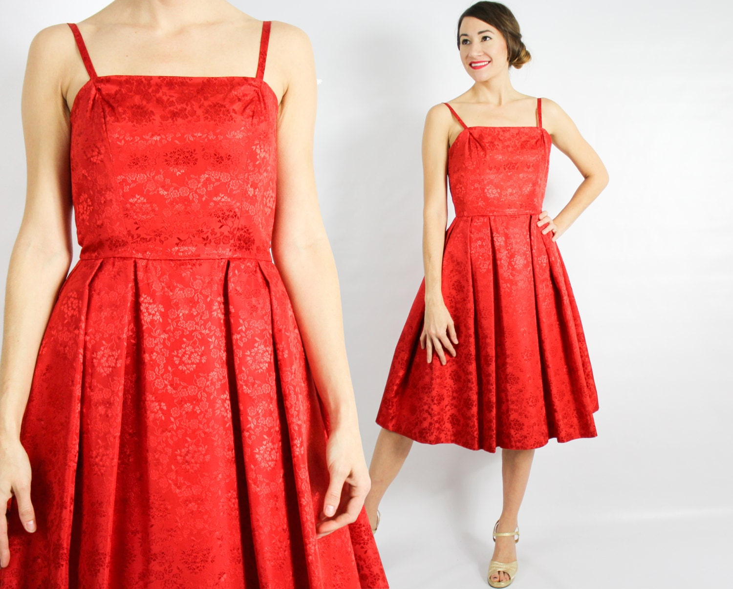 50s Party Dress Bright Red Sleeveless Pleated Midcentury