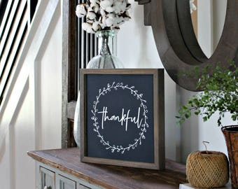 Framed Rustic Thankful Farmhouse Sign - Thanksgiving - Grateful Thankful Blessed Sign - Gratitude Sign - Gallery Wall Sign- Rustic Wood Sign