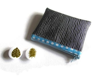 Wallet with faux leather silver veined non lined/blue dot bias