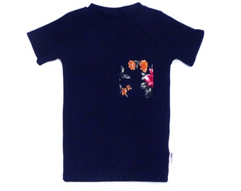 Shirt/t-shirt color Navy and true pattern Pocket flower for baby and child
