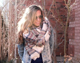 Heather Skies Plaid Blanket Scarf, Winter scarf, Blanket scarf, Plaid Scarf, Bridesmaid Scarf, scarves, best selling items, gift for her