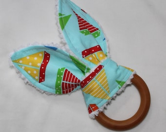 Blue Sea and Sun Sailboats Rabbit Ears Wooden Teething Ring