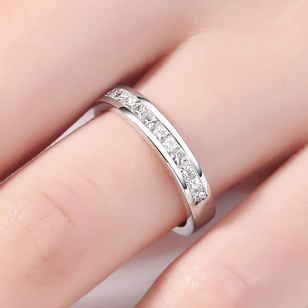 Princess Cut wedding band White gold Diamond Wedding ring Half