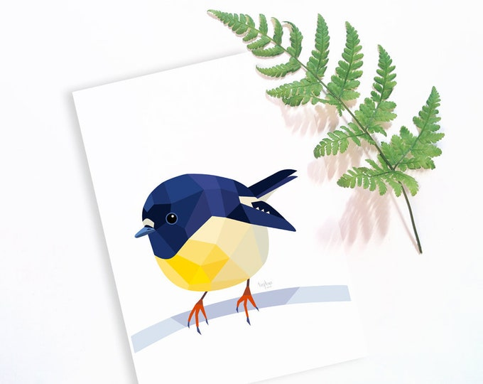 Tomtit illustration, New Zealand tomtit, Miromiro, New Zealand art, New Zealand native birds, Bird wall art, Kiwiana, Simple living art, NZ