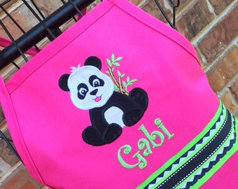 Panda Apron, Personalized Embroidery, Apron with Name, Birthday Party Favor, Birthday Gift, Chef Apron, Mommy and Me Aprons