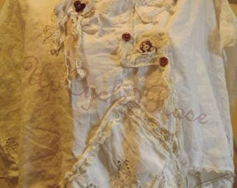 Up-cyled Re-prposed Linen Shrug Bohemian Resort Wear Shabby Couture Ready to Ship