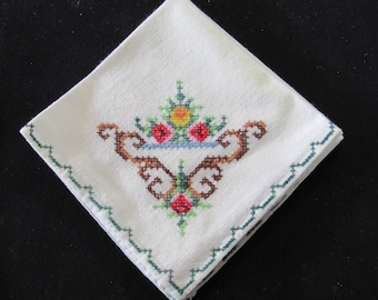 Vintage Lot of (9) Handcrafted Linen 10 x 10 Cross Stitch Napkins - Sewing - Embroidery