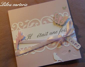 Announcements baptism or baby girl Butterfly Fairy