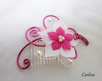 Fuchsia silk flower wedding hair comb and white - Cole-