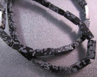 Snowflakes Obsidian Rectangle Beads 31pcs