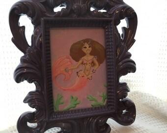Original Mini Mermaid painting framed in ornate Purple frame, 7 inches tall light pink tailed Mermaid Mini Mermaid illustration