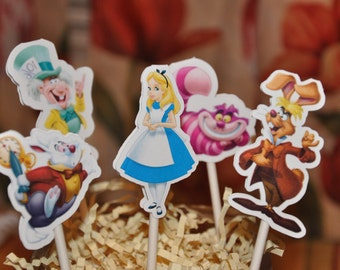 Alice in Wonderland Cupcake Toppers Set of 12