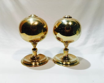 Large heavy brass finials, Large brass balls, Brass statue, Brass orbs, Gold balls, Large finials, Brass decor, Gold decor