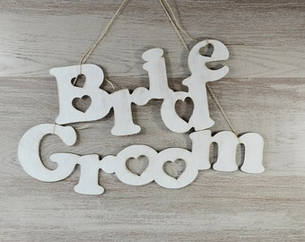 Chair Back Signs, Bride and Groom Chair Signs , Wedding Signs, Photo Props, Calligraphy Signs, Laser Cut Signs, distressed ivory
