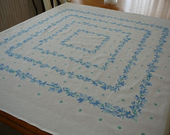 Vintage table linen, white and blue floral design