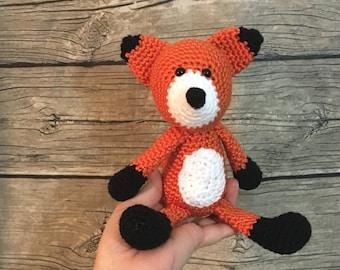 Fox,  Crochet Animal, fox stuffed toy, crochet fox, fox child toy, baby fox, Fox nursery, fox toy animal, fox lovey, Fox amigurumi, Fox baby