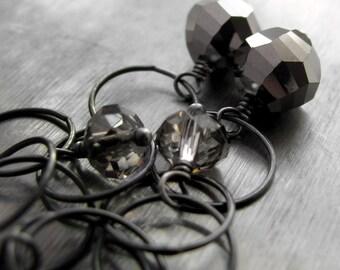 Oxidized Sterling Silver Earrings, Metallic Mirrored Crystal, Black Gunmetal Darkened Silver, Modern Geometric Jewelry - Space in the Void
