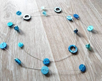 Blue necklace with recycled buttons