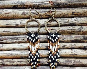 Long Seed Bead Earrings, Fringe Earrings, Southwestern beaded earrings, Bohemian Earrings