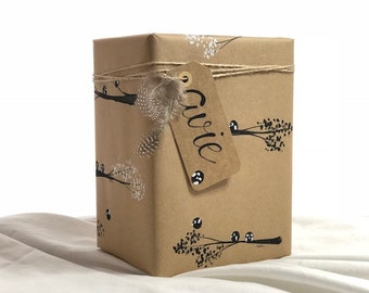 Hand-painted, bird wrapping paper, tags and twine