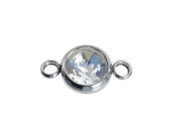 """Faceted AB Color Rhinestone 18mm (3/4"""") 304 Stainless Steel Connector Round Silver Tone  1pcs"""
