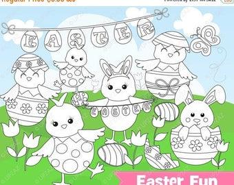 75% OFF SALE Easter Chicks Digital Stamp Clipart, Commercial Use, Easter Peeps, Digital Clip Art - UZ890