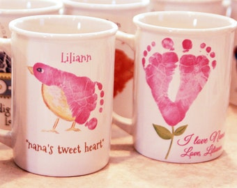Any 2 mugs. Hand and Footprint Art made from your child's actual prints! _412_mug