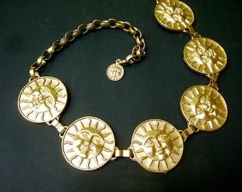 Italian Gilt Metal Sun Medallion Link Belt