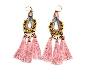 Pink Tassel Earrings, Large Chandelier Earrings, Old Rose Drop Earrings, Hippie Dangle Earrings, Fringe Earrings, Tribal Earrings
