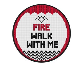 Twin Peaks Cross Stitch Fire Walk With Me - Cross Stitch PDF Pattern Instant Download