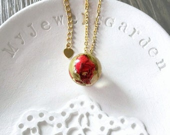 Red rose necklace Flower charm Gold filled necklace chain Real flower red rose pendant necklace Best gift for her birthday gift handmade