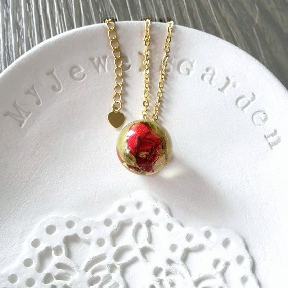 Organic necklace Floral charm Gold filled necklace chain Real flower red rose pendant necklace Best gift for mom birthday gift handmade