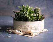 White Ceramic Planter, Large Succulent planter pot, Modern Ceramic Planter, White indoor planter, Geometric cactus planter, Indoor gardening