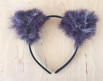 Purple Fur Fluffy Cat Ears Headband