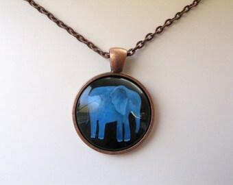 Blue Elephant - mini print necklace pendant and chain copper