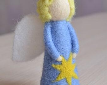 Felt angel doll Guardian angels Needle felted angel figurine Wool angel with a star Gift for him boy angel Waldorf handmade Angel doll charm