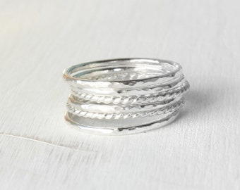 GET 1 FREE WITH Six Stacking silver rings, hammered stacking rings, rope rings in shiny silver, thin silver stackable rings Handmade
