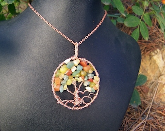 Autumn Tree of Life necklace - Copper and Semi Precious stones in Fall Colors - Opal Peridot Amber etc