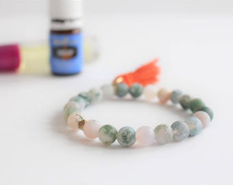 Tree Agate Essential Oil Tassel Diffuser Bracelet / Aromatherapy Bracelet / Oil Diffuser / Gemstone Diffuser / Essential Oil Jewelry