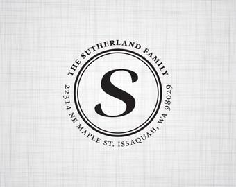 Circle Monogram Personalized Return Address Stamp, Self Inking Stamp, Rubber Stamp, Wedding Return Address Stamp, Custom Stamper