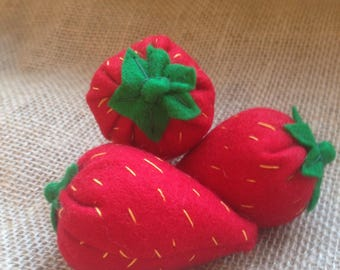 Handmade Colourful Strawberries Felt Play Food perfect for a Nursery Play Kitchen