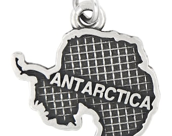 Sterling Silver Oxidized Travel map of Antarctica Charm (with Options)