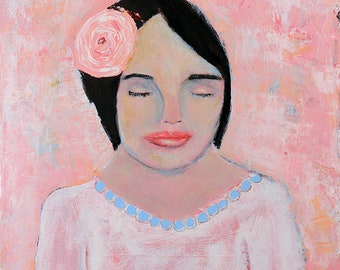 Original Acrylic Woman Portrait Painting. Pink Rose Painting. Canvas Wall Art. Shabby Cottage Chic Home Wall Decor