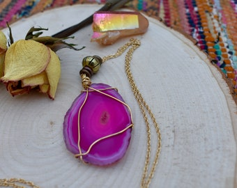 Pink Agate Wire-Wrapped Necklace